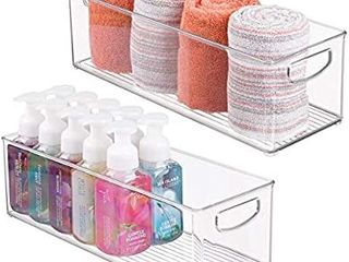 mDesign Storage Bins with Built in Handles for Organizing Hand Soaps  Body Wash  Shampoos  lotion  Conditioners  Hand Towels  Hair Accessories  Body Spray  Mouthwash   16  long  2 Pack   Clear