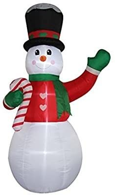 Blow Up Yard Decorations  Snowman with Candy Cane  Untested  see pictures for type of plugin needed