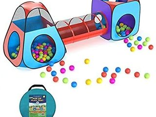 Brainy Shark Pop Up Play Tent   Collapsible Teepee  Cube  Crawl Tunnel Playhouse Maze for Kids   Indoor or Outdoor Jungle Gym  Ball Pit  Obstacle Course   Colorful Fort   Activity Playset for Children