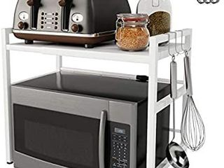 Yikko Microwave Oven Rack Shelf Expandable Kitchen Counter Storage Organizer Microwave Stand Toaster Oven Rack with Hooks Carbon Stainless Steel Easy Assemble  White
