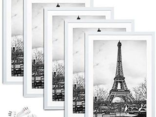 upsimples 12x18 Picture Frame Set of 5 Display Pictures 11x17 with Mat or 12x18 Without Mat