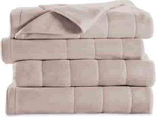 Sunbeam Soft Quilted Fleece Electric Heated Warming Blanket Queen Seashell Washable Auto Shut Off 10 Heat Settings  Gray