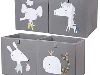 AXHOP Storage Bins Storage Cubes  13 A13 Foldable Fabric Storage Containers Organizer for Kids  Toddlers  Office  Closet  Shelf  4 Pack Grey
