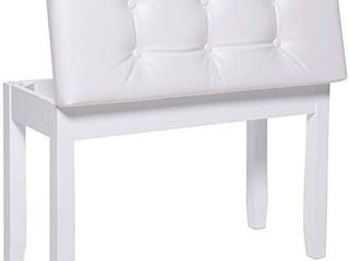 IWEll 28  l Double White Piano Bench with Storage Compartment   Padded Cushion  Rubberwood Keyboard Bench  Vanity Stool  Capacity 396lBS  Keyboard Seat  Easy Assembly