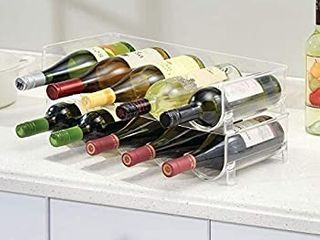 mDesign Plastic Free Standing Water Bottle and Wine Rack Storage Organizer for Kitchen Countertops  Table Top  Pantry  Fridge   Stackable   Holds 5 Bottles Each  see images small damage