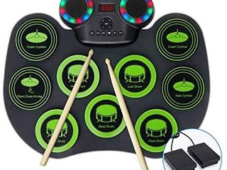 Electronic Drum Set Fverey Portable Drum Bluetooth Practice Drum Pad Rechargeable Midi Drum Kit with Built in Dual Speakers