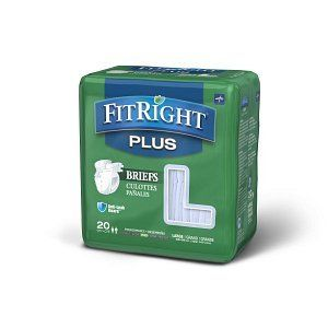 FitRight Plus Adult Disposable Briefs with Tabs  Moderate Absorbency  large  48 58   20 Count