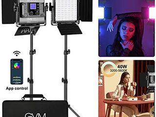 GVM RGB led Video light  2PCS Video lighting Kit with APP Control  40W Photography lighting led Panel light