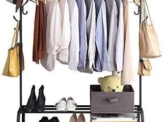 Clothing Garment Rack with Shelves  Metal Cloth Hanger Rack Stand Clothes Drying Rack for Hanging Clothes