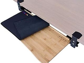 Easy Clamp On large Keyboard Tray Under Desk a Wood Keyboard Drawer with Adjustable Height   No Screws into Desk   Simple Assembly   with Full Size Keyboard and Mouse Pad large