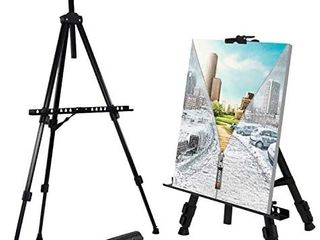 T Sign 66  Reinforced Artist Easel Stand  Extra Thick Aluminum Metal Tripod Display Easel 21  to 66  Adjustable Height with Port