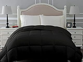 Down Alternative Comforter   Bed Comforter  Medium Fill Weight  All Season Comforter Black 88 x92  has shipping dirt  will need washed