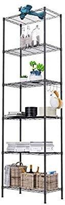 6 Shelf Wire Shelving Units  Heavy Duty Metal Shelf Wire Rack with leveling Feet  Adjustable Utility Storage Shelves for Garage  Kitchen  living Room  Bathroom