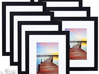 Sindcom 8x10 Picture Frame  Black Wood Textured Photo Frames Collage  Display Photos 5x7 with Mat or 8x10 Without Mat