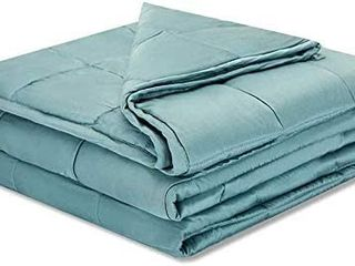 Weighted Idea Cooling Weighted Blanket 15 Pounds 60 x80  for Queen Size Bed  Bamboo Viscosei1 4Sea Grass Blue