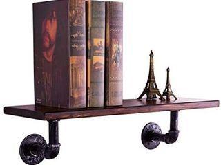 Sansnow 1 Shelf Rustic Iron Pipe Shelf Unit  Industrial Shelves Metal Decorative Accent Wall Book Shelf for Home Bar  Retro   no hardware