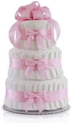 Classic Pastel Baby Shower Diaper Cake  3 Tier  Pink