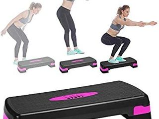 Aerobic Exercise Step Deck  Adjustable Workout Fitness Stepper Exercise Platform with Risers   blue