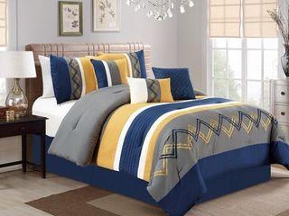 Chezmoi Collection Arden 7 Piece Modern Pleated Stripe Embroidered Zigzag Comforter Set