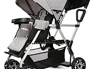 Double Stroller Convenience Urban Twin Carriage Stroller Tandem Collapsible Stroller All Terrain Double Pushchair for Toddler Girls and Boys Stable Stroller Frame with Bag Organizer