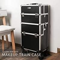 3 in 1 Makeup Rolling Train Case Aluminum Trolley Professional Cosmetic Organizer Box with Shoulder Straps 2 Keys Black Cosmetic are not included