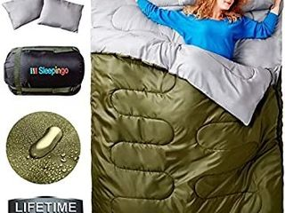 Sleepingo Double Sleeping Bag for Backpacking  Camping  Or Hiking  Queen Size Xl  Cold Weather 2 Person Waterproof Sleeping Bag for Adults Or Teens  Truck  Tent  Or Sleeping Pad  lightweight