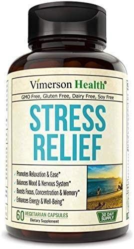 Stress Relief Mood Enhancer Supplement  Relief from Occasional Stress  with Biotin  5 HTP  Valerian  lutein  Vitamin B1 B2 B5 B6  l Theanine  St  John s Wort  Ashwagandha  Chamomile  Niacin  GABA
