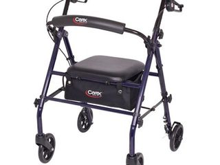 Carex Rollator Walker with Padded Seat  6 inch Wheels  Cushioned Back Support  and Storage Pouch  Navy