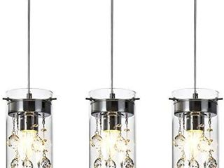 loclgpm Modern Crystal Pendant light  3 Pack Metal Ceiling lamp  Chrome Finish Chandelier Fixture with Clear Glass Shade Hanging for Kitchen Island  living Room  Dining Room  Restaurant  Indoor
