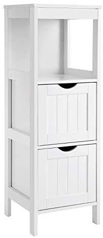 VASAGlE Floor Cabinet Multifunctional Bathroom Storage Organizer Rack Stand  2 Drawers  White