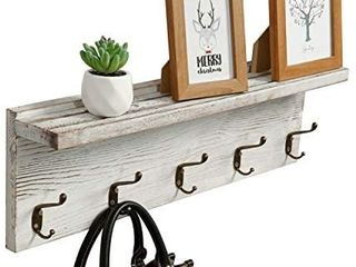 OROPY Rustic Entryway Coat Rack Shelf 23 6  length  Solid Wood Wall Mounted Clothes Rack with 5 Hooks and Display Shelf for Hallway  Bathroom  living Room  Bedroom  Kitchen Storage  Rustic White