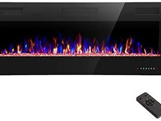 R W FlAME Electric Fireplace 50 inch Recessed and Wall Mounted The Thinnest Fireplacelow Noise   Fit for 2 x 4 and 2 x 6 Stud  Remote Control with Timer Touch Screen Adjustable Flame Colors and Speed