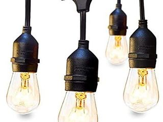 48 FT ADDlON Outdoor String lights Commercial Grade Weatherproof Strand Edison Vintage Bulbs 15 Hanging Sockets 2 Pack