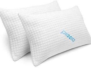 Plixic 2 Pack Shredded Memory Foam Bed Pillows Bamboo Cooling Hypoallergenic Queen Size