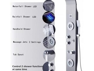 55 in  6 Jet Shower Panel System with lED Rainfall Waterfall Shower Head Handshower and Tub Spout