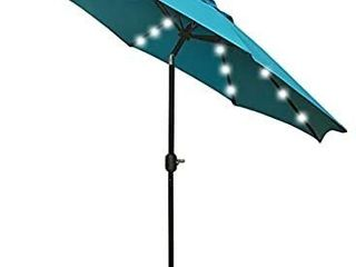 Sunnyglade 9  Solar 24 lED lighted Patio Umbrella with 8 Ribs Tilt Adjustment and Crank lift System