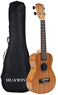 HUAWIND Concert Ukuleles for Beginners 23 inch with Gig Bag Mahogany ukeleles for Adults Starter