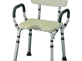 NOVA Medical Products Bath Seat with Arms   U Shaped Cutout  White  7 Pound