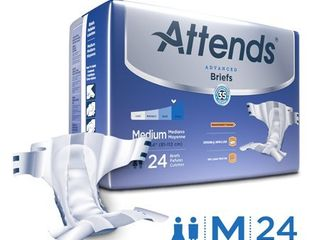 Attends Advanced Briefs  Unisex with Advanced Dry lockAr Technology for Adult Incontinence Care MEDIUM 25 COUNT