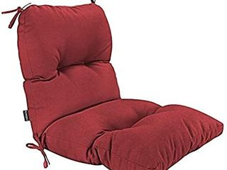 QIllOWAY Outdoor Seat Back Chair Cushion Tufted Pillow   Spring Summer Seasonal All Weather Replacement Cushion  red