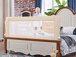 59 Inches Bed Rail for Toddlers Fold Down Safety Baby Bed Guard Swing Down Bedrail for Convertible Crib  Kids Twin  Double  Full Size Queen King Mattress  Beige