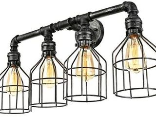 KWOKING lighting Vintage 4 lights Water Pipe Wall lamp with Metal cage Shade Industrial Wall light Fixture Hanging lmap or Kitchen Restaurant Cafe Bar living Room Warehouse