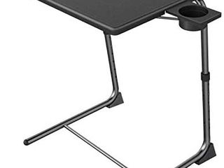 Adjustable TV Tray Table   TV Dinner Tray on Bed   Sofa  Comfortable Folding Table with 6 Height   3 Tilt Angle Adjustments  Black