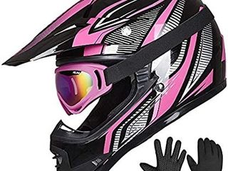 IlM Youth Kids ATV Motocross Helmet Goggles Dirt Bike Motorcycle Off Road DOT Approved  Youth l  RED Black