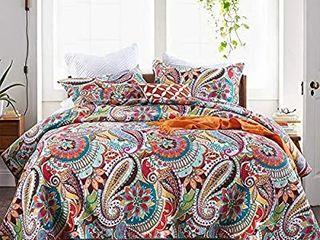 Autumn Dream Cotton Jacquard Quilt Bedspread Bedding Sets  Reversible Coverlet Set  Gorgeous Paisley Pattern Floral Bedspreads and Comforters  Queen Size plus 2 pillow cases