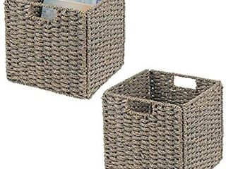 mDesign Natural Woven Seagrass Closet Storage Organizer Basket Bin   Collapsible   for Cube Furniture Shelving in Closet  Bedroom  Bathroom  Entryway  Office   10 5  High