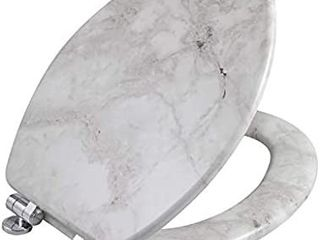 Angel Shield Marble Toilet Seat Durable Molded Wood with Quiet Close Easy Clean Quick Release Hinges  Elongated Gray Marble