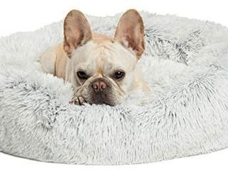 Calming Donut Cat and Dog Bed in Shag Fur  Multiple Sizes and Bundle Value for pets up to 150 pounds  Machine Washable  TAN