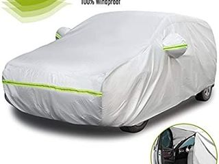 Favoto Hatchback Car Cover 5 layers Universal Fit 145 to 157 inch Driver Side Door Zipper Design Protection from Sun Rain Windproof Dustproof Snow leaves Scratch Resistant Full Exterior Cover