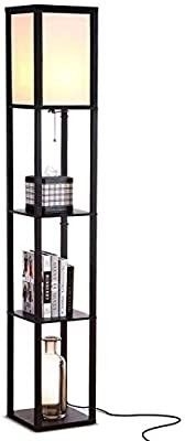 Modern lED Shelf Floor lamp   Skinny End Table and Nightstand for Bedroom   Combo Narrow Side Table with Standing Accent light Attached   Asian Tower Book Shelves   Dark Brown